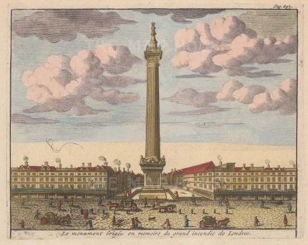 "van der Aa: Monument. 1725. A hand coloured original antique copper engraving. 7"" x 6"". [LDNp10558]"