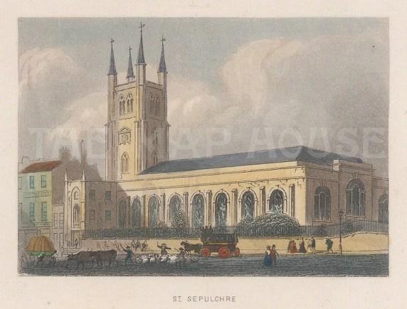 "Tallis: St Sepulchre-without-Newgate. 1851. A hand coloured original antique steel engraving. 4"" x 3"". [LDNp10627]"
