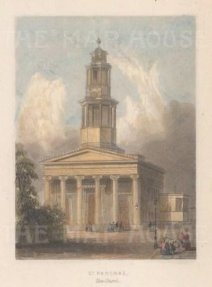 """Tallis: St Pancras New Church. 1851. A hand coloured original antique steel engraving. 4"""" x 3"""". [LDNp10633]"""