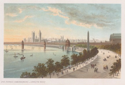 Thames Embankment: Panorama looking west towards Westminster