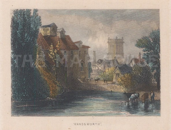 "Tallis: Wandsworth. 1851. A hand coloured original antique steel engraving. 4"" x 3"". [LDNp8088]"