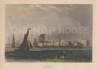 "Tallis: Blackwall. 1851. A hand coloured original antique wood engraving. 4"" x 3"". [LDNp8393]"