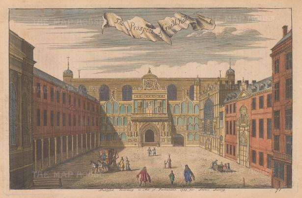 """Stow: Guildhall. 1755. A hand coloured original antique copper engraving. 13"""" x 9"""". [LDNp8412]"""