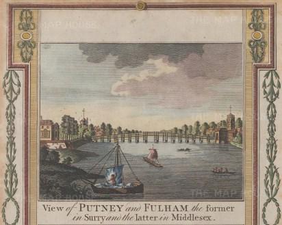 """Hogg: Putney & Fulham. c1780. A hand coloured original antique copper engraving. 9"""" x 8"""". [LDNp8647]"""