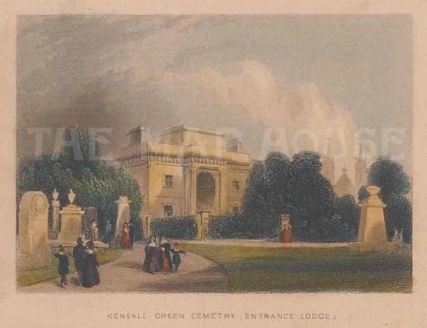"Tallis: Kensal Green Cemetery. 1851. A hand coloured original antique steel engraving. 4"" x 3"". [LDNp8801]"