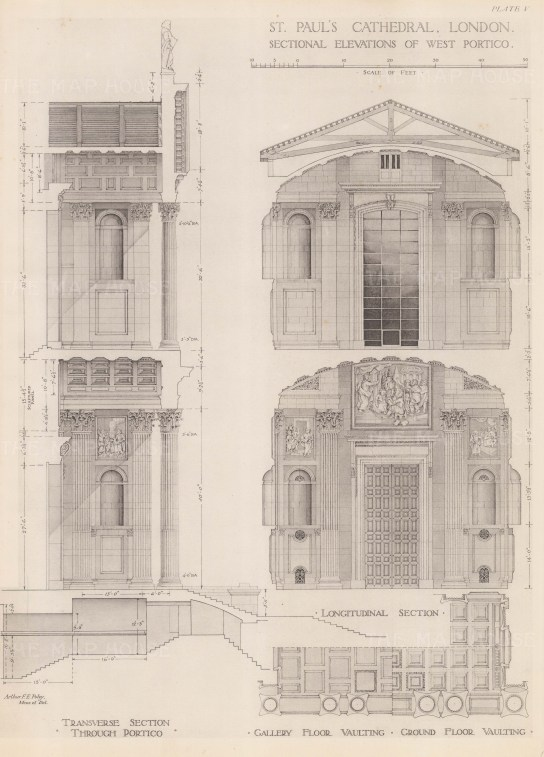 Sectional elevations of the West Portico.
