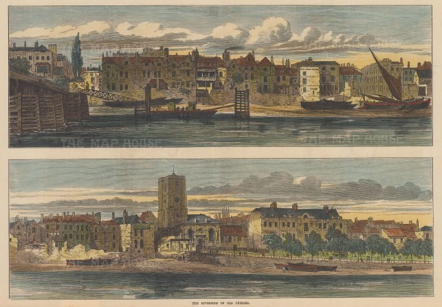 Cheyne Walk. Double panorama on the Thames riverfront with Old Ferry Wharf, and Chelsea Old Church.