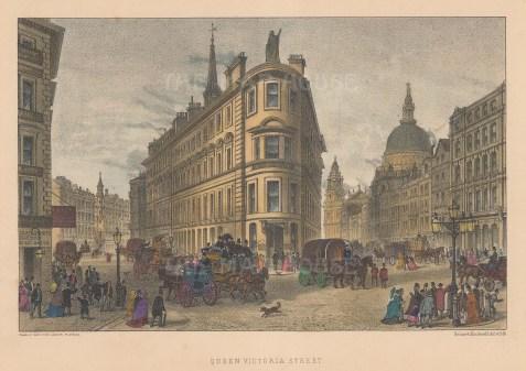 "Cassell: Queen Victoria Street. c1883. A hand coloured original antique steel engraving. 8"" x 5"". [LDNp9132]"