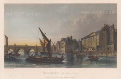 Westminster Bridge as recorded in 1745.