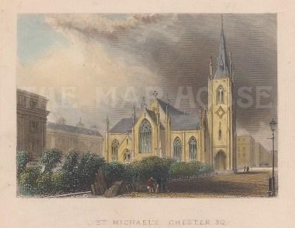 "Tallis: St Michael's Church, Chester Square. 1851. A hand coloured original antique steel engraving. 4"" x 3"". [LDNp9380]"