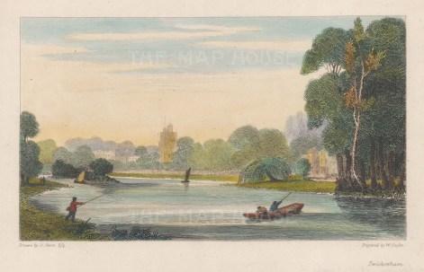 """Cooke: Twickenham. 1811. A hand coloured original antique copper engraving. 8"""" x 5"""". [LDNp9389]"""
