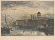 "Dawson: London Bridge. c1880. A hand coloured original antique wood engraving. 10"" x 7"". [LDNp9413]"