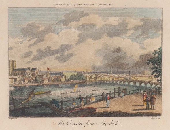 """Philips: Westminster from Lambeth. 1804. A hand coloured original antique copper engraving. 9"""" x 6"""". [LDNp9414]"""