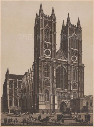 """Anonymous: Westminster Abbey. c1920. An original black & white antique photo-lithograph. 5"""" x 7"""". [LDNp9528]"""