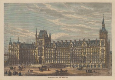 "Illustrated London News: Midland Railway Hotel, St Pancras. 1871. A hand coloured original antique wood engraving. 14"" x 10"". [LDNp9534]"