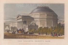 """Shepherd: The Coliseum, Regent's Park. 1827. A hand coloured original antique steel engraving. 7"""" x 5"""". [LDNp9610]"""