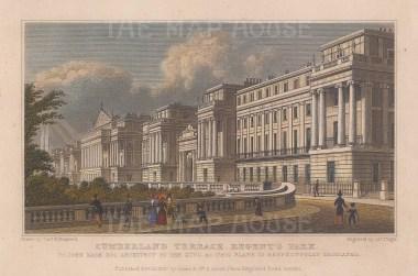 "Shepherd: Cumberland Terrace, Regent's Park. 1827. A hand coloured original antique steel engraving. 7"" x 5"". [LDNp9611]"