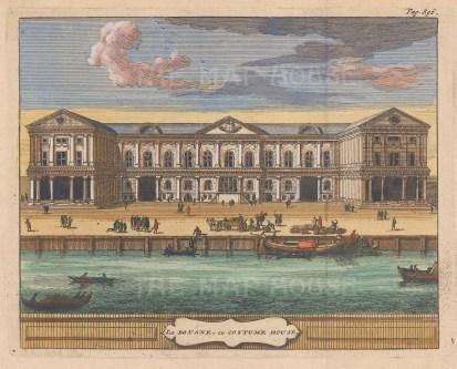 "van der Aa: Custom House. 1727. A hand coloured original antique copper engraving. 7"" x 5"". [LDNp9801]"