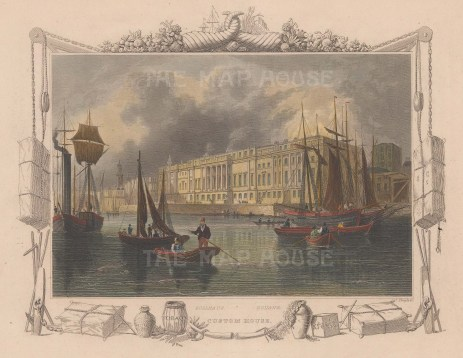 """Tombleson: Custom House. 1864. A hand coloured original antique steel engraving. 10"""" x 8"""". [LDNp9878]"""