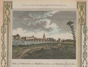 View of Chelsea from Battersea Churchyard.