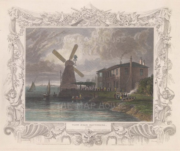 """Tombleson: Red House Mill, Battersea. c1845. A hand coloured original antique steel engraving. 10"""" x 7"""". [LDNp9924]"""