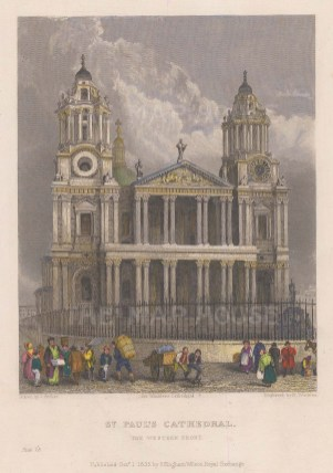 """Winkles: St Paul's Cathedral. 1836. A hand coloured original antique steel engraving. 5"""" x 7"""". [LDNp9955]"""