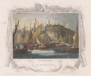 "Tombleson: Billingsgate. 1845. A hand coloured original antique steel engraving. 9"" x 7"". [LDNp9971]"