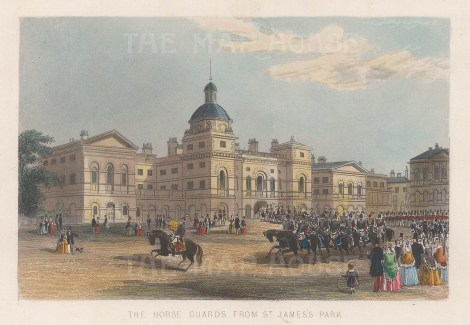 "Tallis: Horse Guards. 1851. A hand coloured original antique steel engraving. 6"" x 4"". [LDNp9977]"
