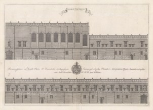 Two architectural elevations. An architectural draughtsman, in many instances William's elevations are the only visual records of the colleges at this time.