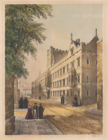 "Delamotte: Exeter College. 1840. A hand coloured original antique lithograph. 11"" x 15"". [OXONp532]"
