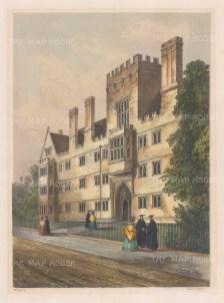 "Delamotte: Wadham College. 1840. A hand coloured original antique lithograph. 11"" x 15"". [OXONp537]"