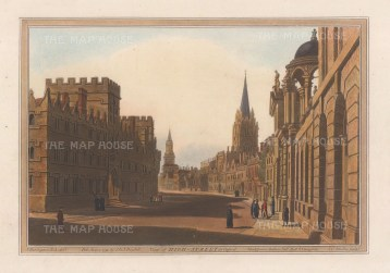 High Street facing West, with Queen's College and University College in foreground. After Joseph Farington.