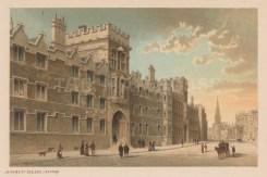 "Nelson: University College. c1889. An original antique chromolithograph. 5"" x 3"". [OXONp787]"