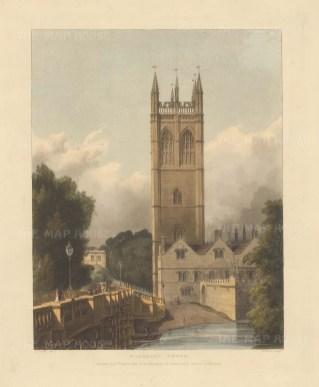 """Ackermann: Magdalen Tower. 1814. An original colour antique aquatint. 10"""" x 12"""". [OXONp802]"""