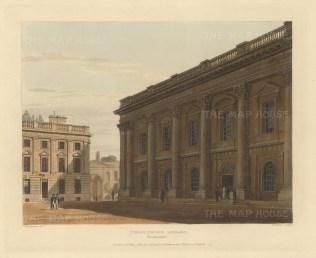 """Ackermann: Christ Church Library. 1814. An original colour antique aquatint. 12"""" x 10"""".[OXONp804]"""