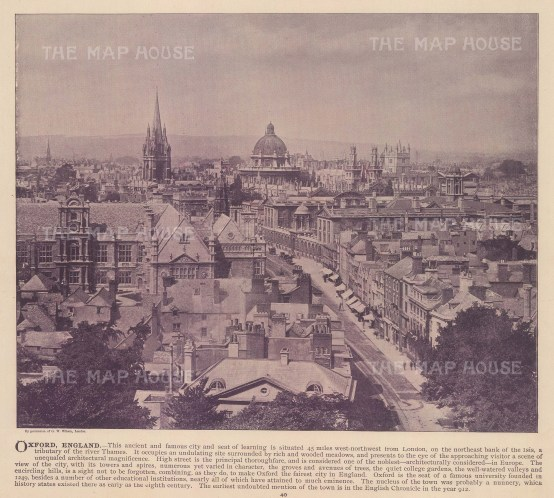 Panoramic view of Oxford. With text.