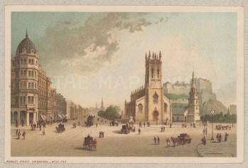 """Nelson: Princes Street, Edinburgh. 1890. An original antique chromolithograph. 5"""" x 3"""". [SCOTp1538]"""