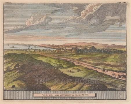 "van der Aa: Lothaine. 1727. A hand coloured original antique copper engraving. 6"" x 4"". [SCOTp1596]"