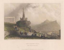 "Bartlett: Calton Hill, Edinburgh. 1839. A hand coloured original antique steel engraving. 8"" x 6"". [SCOTp1628]"