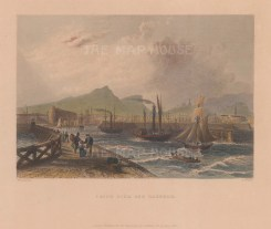 "Bartlett: Leith Pier & Harbour. c1840. A hand coloured original antique steel engraving. 8"" x 7"". [SCOTp1631]"