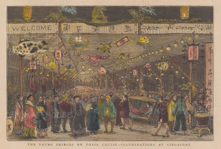 "Illustrated London News: Illuminations at Singapore. 1882. A hand coloured original antique wood engraving. 9"" x 6"". [SEASp1763]"