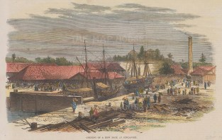 """Illustrated London News: Singapore. New Dock 1869. A hand coloured original antique wood engraving. 9"""" x 6"""". [SEASp1764]"""