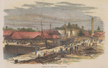 "Illustrated London News: Singapore. New Dock 1869. A hand coloured original antique wood engraving. 9"" x 6"". [SEASp1764]"