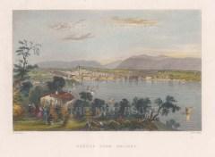 "Bartlett: Geneva, Switzerland. 1836. A hand coloured original antique steel engraving. 8"" x 6"". [SWIp684]"