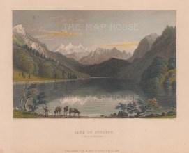 """Bartlett: Lake Lungren, Switzerland. 1836. A hand coloured original antique steel engraving. 8"""" x 6"""". [SWIp762]"""