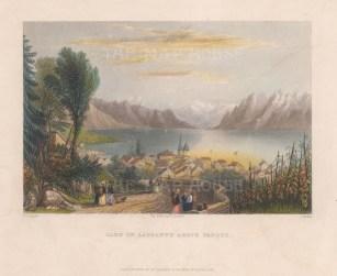 "Bartlett: Lausanne Lake, Switzerland. 1836. A hand coloured original antique steel engraving. 8"" x 6"". [SWIp765]"