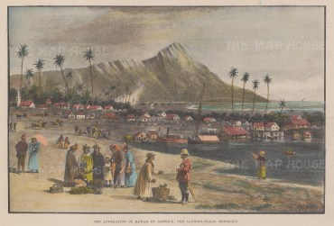 Honolulu: View of the port landing place in the year of annexation.