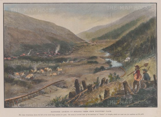 Klondike Gold Rush: View of Bonanza Creek from Discovery Claim.