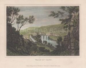"Dugdale: Vale of Taff. c1830. A hand coloured original antique steel engraving. 6"" x 5"". [WCTSp455]"