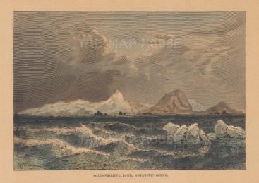 "Reclus: Louis-Philippe Land, Antarctic. 1894. A hand coloured original antique wood engraving. 8"" x 6"". [ANTp26]"